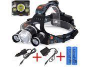 CREE 8000 Lumen Headlamp XM-L 3 x T6 LED Headlight 18650 Light Charger Battery