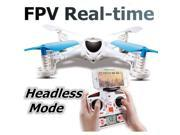MJX X300C 2.4G 4CH 6-Axis RC Quadcoptepr FPV Real-time Video Drone Headless Mode One Key Return 3D Flips WIth 1MP Camera Throttle Limit Mode (White, Left Hand Throttle)