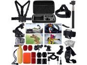 30 pcs Accessories Kit Set Floating Monopod Head Strap Chest Strap Mount Belt Band  for GoPro Hero 2/3/3+/4 SJ4000/SJ5000 Camera With Carry Bag