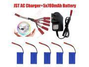 1Pcs Balance Charger 5x 780mAh Battery 1Pcs 1V5 JST Cable Kit For JJRC V686 V686K V686G Quadcopter Drone