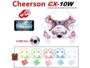 Cheerson CX-10W Mini Wifi FPV 0.3MP Cam LED 3D Flip 2.4G 4CH 6 Axis RC Drone Quadcopter Helicopter (Gold Rose) +5pcs Protection Guard Cove +20pcs Propeller Blad