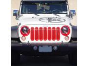 Xprite Red 7 Piece Front Grille Insert 07-16 Jeep Wrangler
