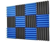 2x12x12-12PK BLUE/CHARCOAL Acoustic Wedge Soundproofing Studio Foam