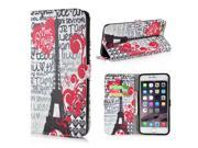 Colorful Cartoon Pattern Leather Flip Stand Case With Card Slots For iPhone 6 4.7 inch - Tower And Love Heart 9SIA8JG3C09197