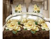 3D Flower Queen King Size Bed Quilt/Duvet Sheet Cover 4PC Set Cotton Sanded