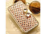 Moonmini Case for Sony Xperia Z L36H (Champagne) 3D Luxury Bling Rhinestones Diamonds Bow Bone Leather Flip Case Cover Wallet with Card Holders