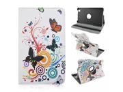 Moonmini For Samsung Galaxy Tab Pro 8.4 inch T320 360 Degrees Rotation PU Leather Flip Stand Case Cover Skin Protector with Elastic Safety Strap Flower Butterf