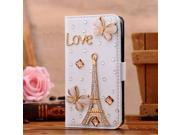 Moonmini for Samsung Galaxy Note 3 N9000 Luxury Bling Crystal Rhinestone PU Leather Folding Stand Flip Case Cover Wallet Cards Slots with Magnetic Closure - Eiffel Tower Design