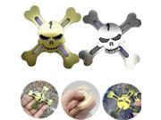Tri-Spinner Metal Skull Fidget Hand Spinner Finger Gyro Toy Gift EDC ADHD Autism