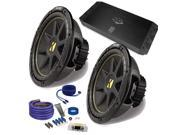 """Kicker 2 12"""" Comp Subwoofers and a DUBa1450 900 Watt Amp + Amp wire kit Package"""