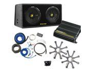 """Kicker Bass package - Dual 10"""" CompS in a ported box with CX600.1 amplifier, wiring kit, grilles, and bass knob."""