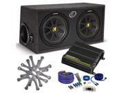"Kicker Comp Dual 12"" package with Kicker CX300.1 300 watt monoblock, grilles, and wiring kit"