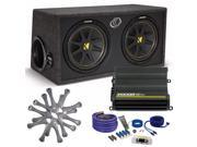 "Kicker Comp Dual 12"" package with Kicker CX600.1 600 watt monoblock, grilles, and wiring kit"