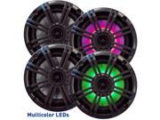 "Kicker 6.5"" Charcoal LED Marine Speakers (QTY 4) 2 pairs of OEM replacement speakers"