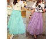 Summer Women's Net Yarn Casual Long Skirt Candy Color Solid Maxi Skirt