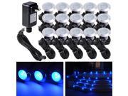 15pcs Deck Light LED Bulbs Landscape Garden Stair Yard Blue Lamp W/ Transformer