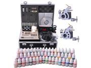 Complete Tattoo Kit 54 Color Ink 2 Machine Guns Set LCD Power Supply Equipment