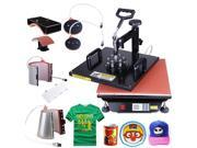 15x15 6in1 Heat Press Transfer Machine Digital Sublimation T-Shirt Mug Hat Plate Cap w/ Gloves