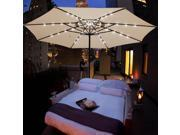 13FT Patio Umbrella w/ 48 LED Outdoor Market Beach Garden Cover 8 Rib Top Canopy 9SIA8SK39Z4373