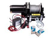 2000 lb 0.9HP Electric Recovery Winch Free Gloves ATV UTV Jeep Trailer Truck 12V