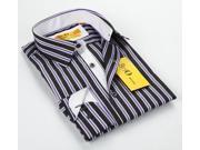 BriO Milano Men's Black/Purple/White Striped Floral Collar Button Down Fashion Shirt