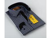 BriO Milano Men's Navy/ Black/ White Button Down Dress Shirt
