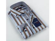 Max Lauren Men s Blue Brown Striped Button down Dress Shirt