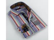 Max Lauren Men's Multicolor Stripe Dress Shirt (100% Premium Cotton)