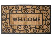 Image of J & M Home Fashions Light Swirls Welcome Natural Coir and Rubber Doormat, 18-...