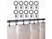 Set of 10 Premium Curtain Rings with Clips Black 1.5 Inch Diameter
