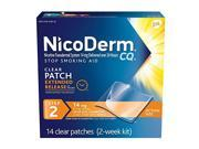 NicoDerm CQ Clear Nicotine Patch 14 milligram Step 2 Stop Smoking Aid 14 count