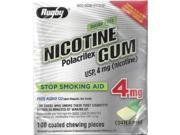 Rugby Sugar Free Nicotine Polacrilex Gum 100 Count 4 MG COATED MINT Flavor Stop Smoking Aid