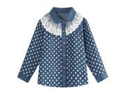 Richie House Girls' Blue Blouse with White Polka Dots and Lace Collar RH0927-A-1/2 9SIA8VS3E46395
