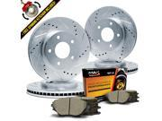 Max KT055713 Front + Rear Silver Slotted & Cross Drilled Rotors and Ceramic Pads Combo Brake Kit