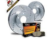 Max KT081411 Front Silver Slotted & Cross Drilled Rotors and Ceramic Pads Combo Brake Kit