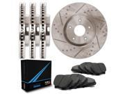 Max TA108633 Front + Rear Premium Slotted & Cross Drilled Rotors and Carbon Metallic Pads Combo Brake Kit