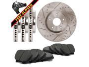 Max TA111933 Front + Rear Premium Slotted & Cross Drilled Rotors and Carbon Metallic Pads Combo Brake Kit