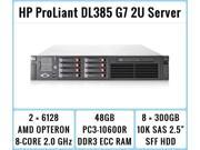 HP ProLiant DL385 G7 2U RackMount 64-bit Server with 2x8-Core 6128 Opteron 2.0GHz CPUs + 48GB PC3-10600R RAM + 8x300GB 10K SAS SFF HDD, P410i RAID, DVD-ROM, 4xGigaBit NIC, 2xPower Supplies, NO OS