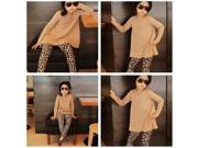 Soft Fashion Children Girls Brown T shirt Leopard Print Pants Suit Set