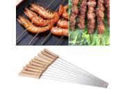 10pcs Outdoor Picnic BBQ Barbecue Skewer Roast Stick Stainless Steel Needle
