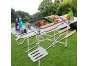3pcs BBQ Tool Set Spatula Fork Tong with Long Handles Grip Grilling Tool