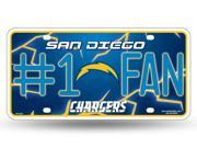 San Diego Chargers Official NFL License Plate by Rico Industries 381172 9SIA5VG3ZW0776