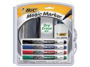BIC DEPKITP61 Low Odor And Bold Writing Dry Erase Marker Kit, Bullet Tip, Assorted, 4/Pack