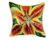 Pair of Betsy Drake Yellow Lily Large Pillows 18 Inch x 18 Inch