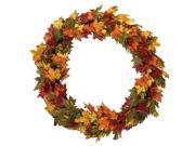 "Image of 36"" Autumn Blessings Maple Leaf, Berry and Acorn Artificial Thanksgiving Wreath"