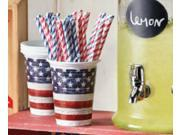 Club Pack of 96 Weathered American Flag 16 oz Red, White, and Blue Plastic Disposable Cups 9SIA09A41A5482