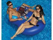 "64"""" Blue Duo Circular Inflatable Swimming Pool Lounger with Cooler"" 9SIA09A48F7098"