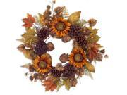 """24"""""""" Autumn Harvest Orange and Brown Natural Sunflower Fall Foliage Artificial Thanksgiving Wreath"""" 9SIV1JB6Y11158"""