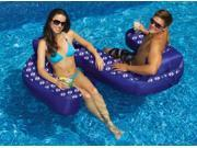"77"""" Blue Duo Looped Circular Inflatable Swimming Pool Lounger with Cup Holders"" 9SIV1JB6Y08472"