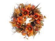 "22"""" Autumn Harvest Orange Pumpkin, Sunflower & Lotus Pod Artificial Thanksgiving Floral Wreath - Unlit"" 9SIA09A3FB8876"